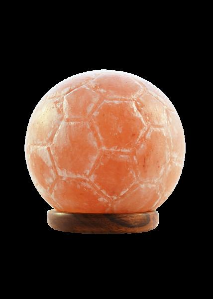 Salzkristall-Lampe in Fussball 2 bis 4kg mit Holzsockel