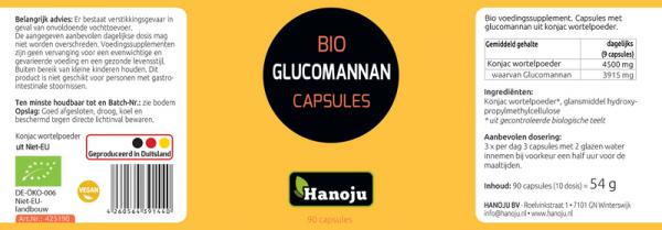 Hanoju Bio Konjak Glucomannan Pulver 500 mg, 90 Kapseln