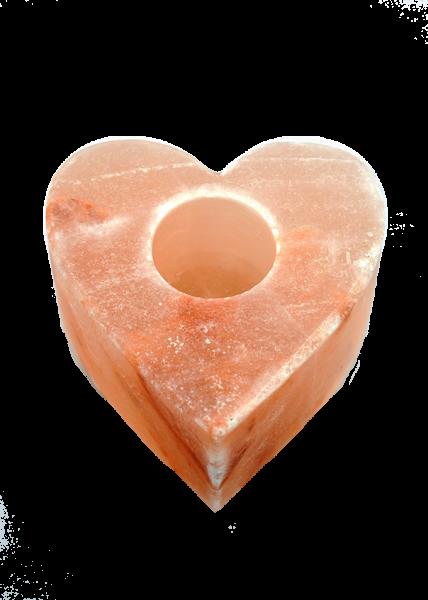 Salzkristall - Kerzenhalter in Herzform ca.1kg mit Kunststofffüßen